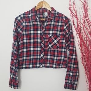 Divided   Cropped Button down Checkered Top